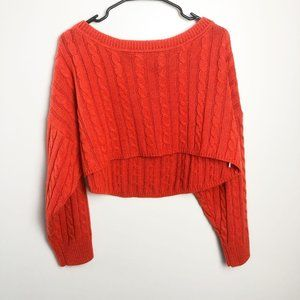 Fashion Nova Cropped Cable Knit Sweater